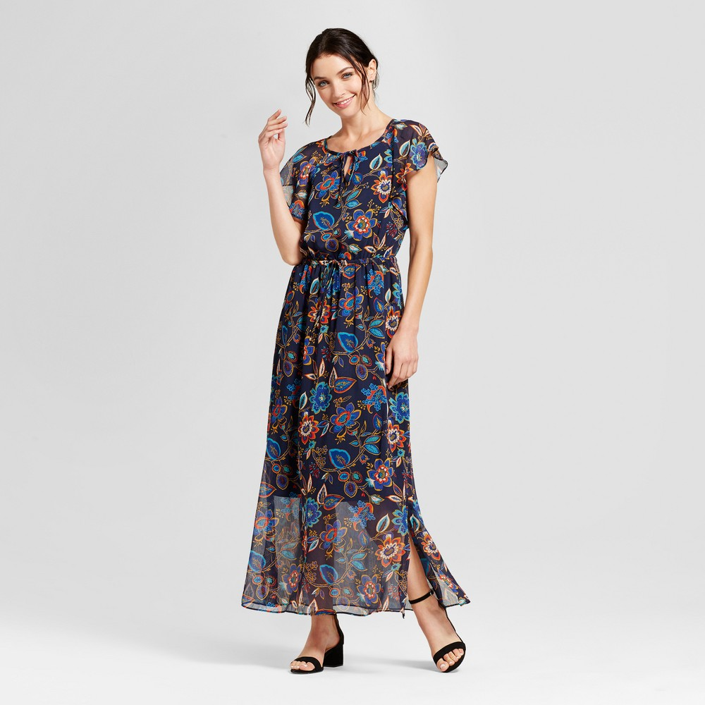 Womens Floral Short Sleeve Maxi Dress - A New Day Navy XS, Blue