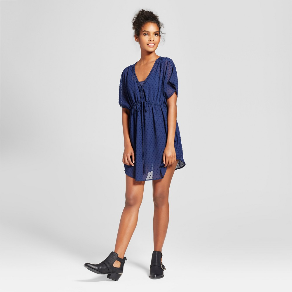 Womens Mesh Dot Caftan Dress - Layered with Love Navy XL, Blue