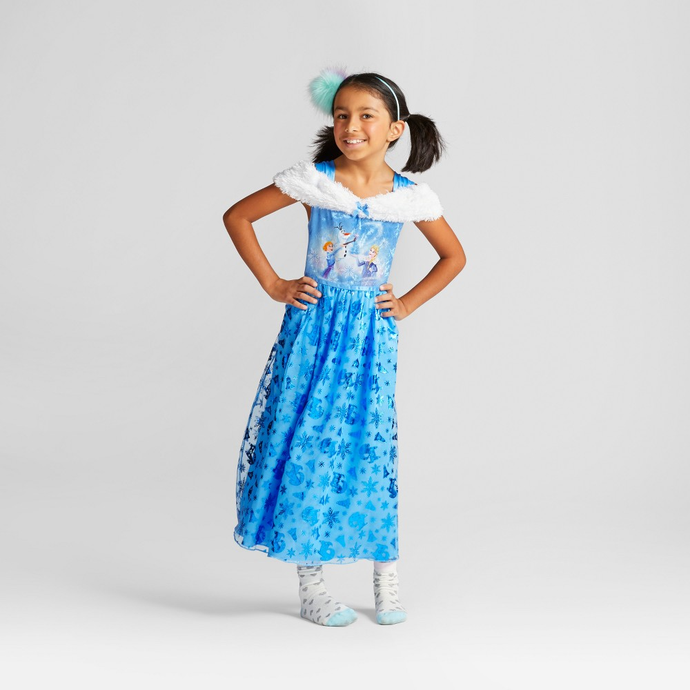 Girls Disney Frozen Dress Up Gown Nightgown - Blue S