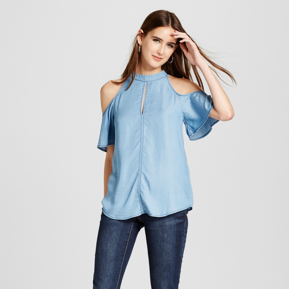 Women's Chambray Cold Shoulder Top - Layered with Love Denim Blue S