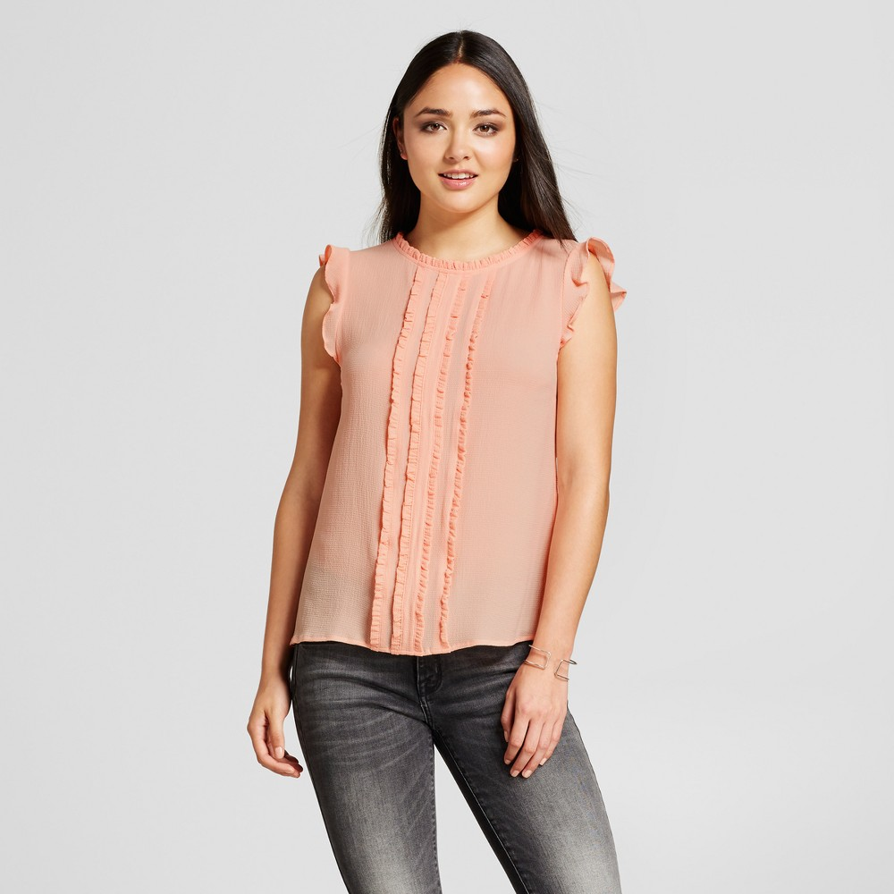 Womens Ruffle Front Blouse - Layered with Love Pink M