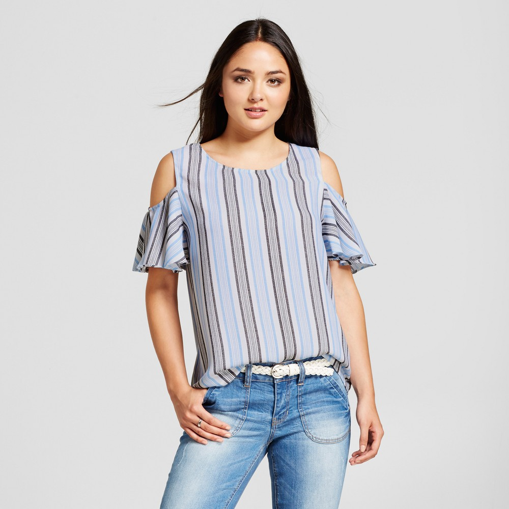 Womens Striped Cold Shoulder Top - Layered with Love Blue L, Black Blue White