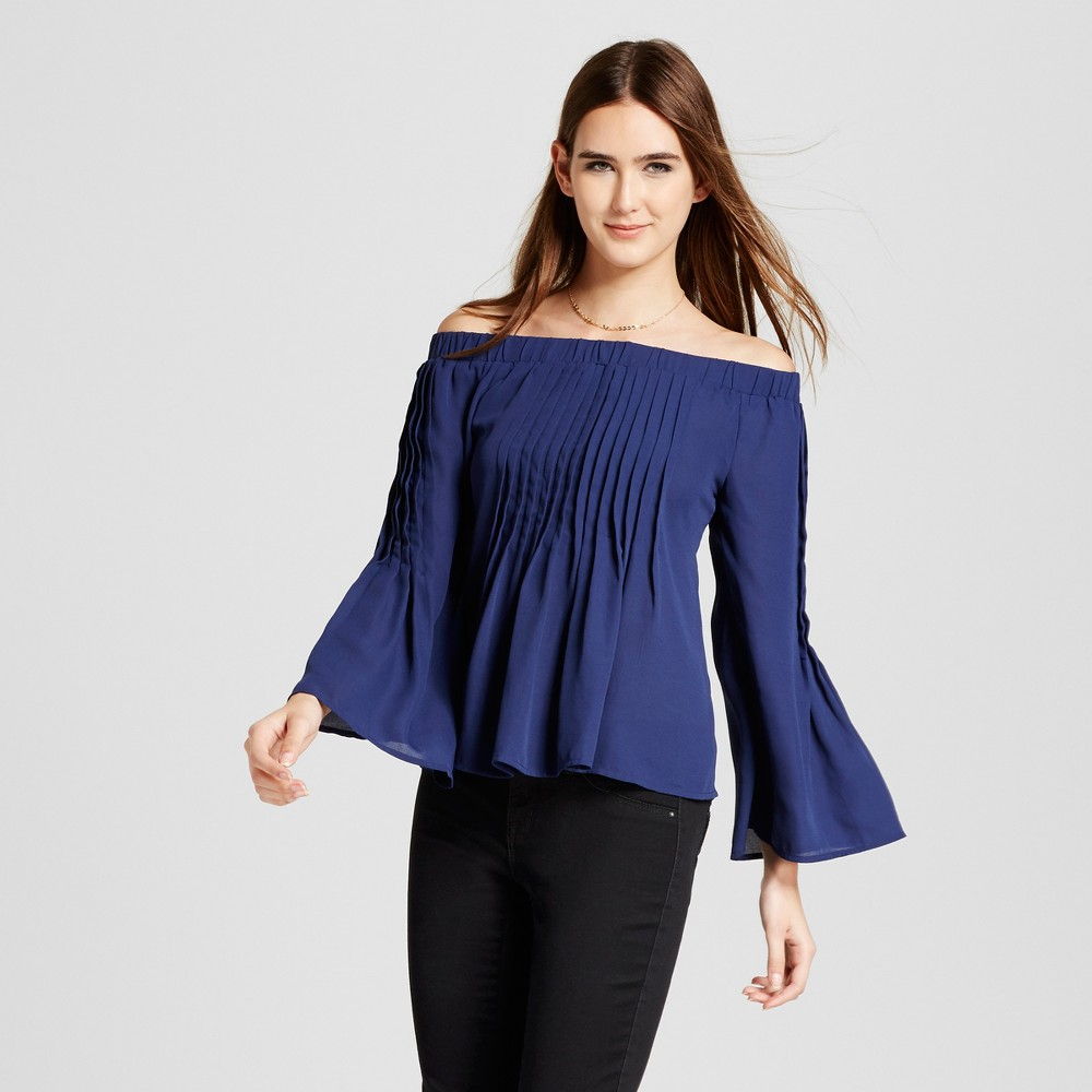 Womens Pleated Off the Shoulder Blouse - Layered with Love Navy S, Blue