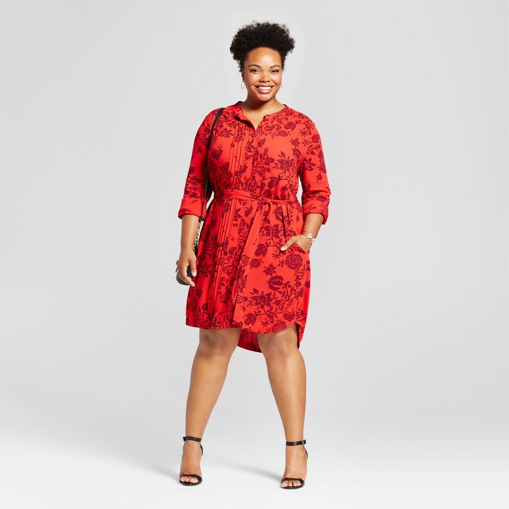Womens Plus Size Floral Printed Shirtdress - Ava & Viv Red X