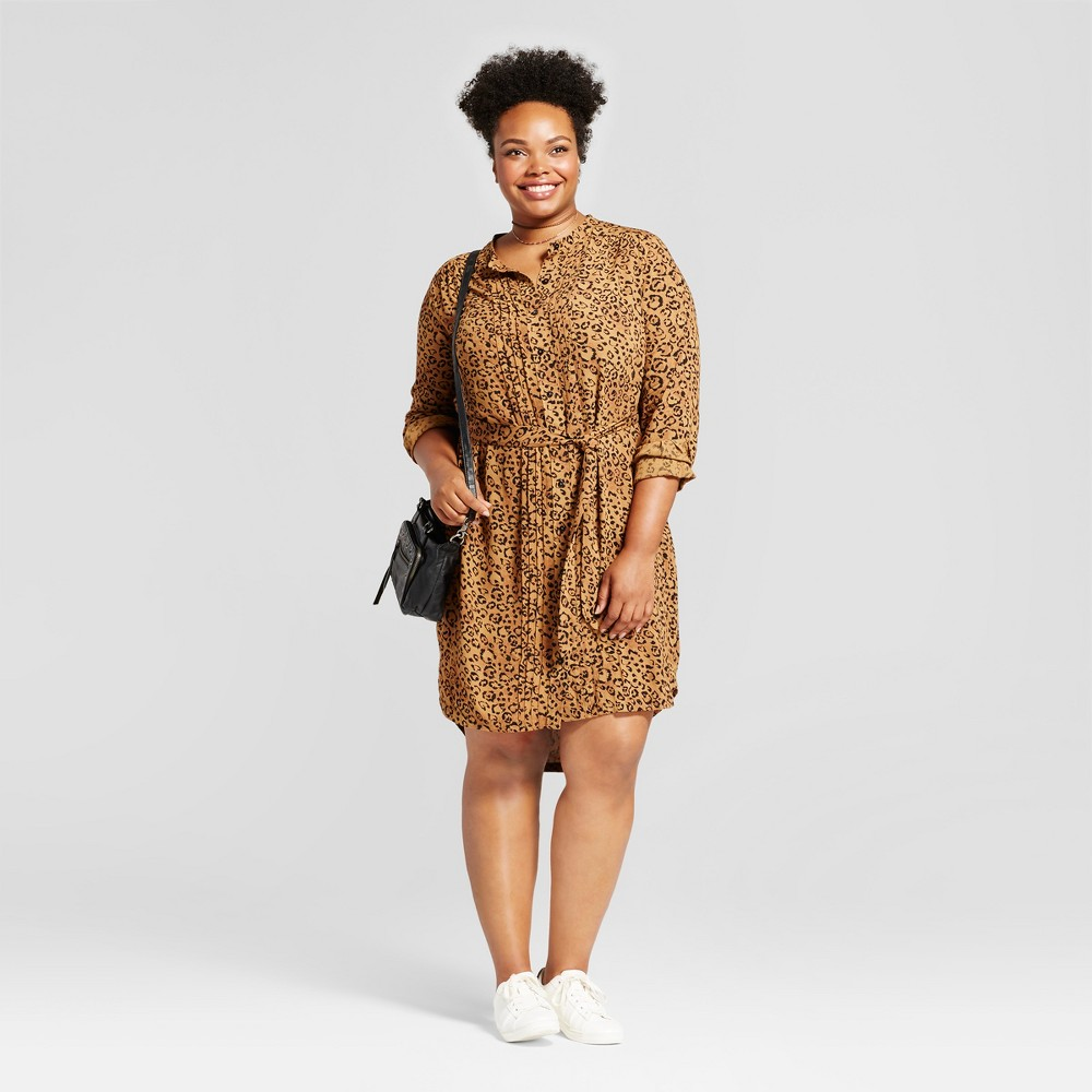 Womens Plus Size Animal Print Shirtdress - Ava & Viv Brown 1X