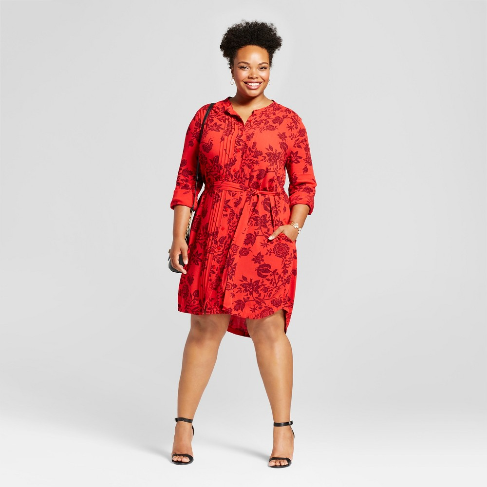 Women's Plus Size Floral Printed Shirtdress - Ava & Viv Red 1X