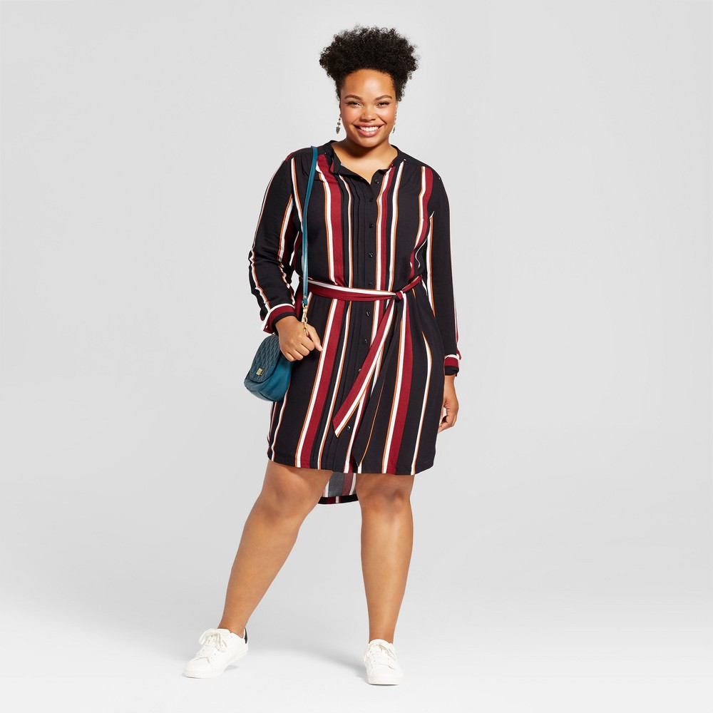 Womens Plus Size Printed Striped Shirtdress - Ava & Viv Black/Burgundy X