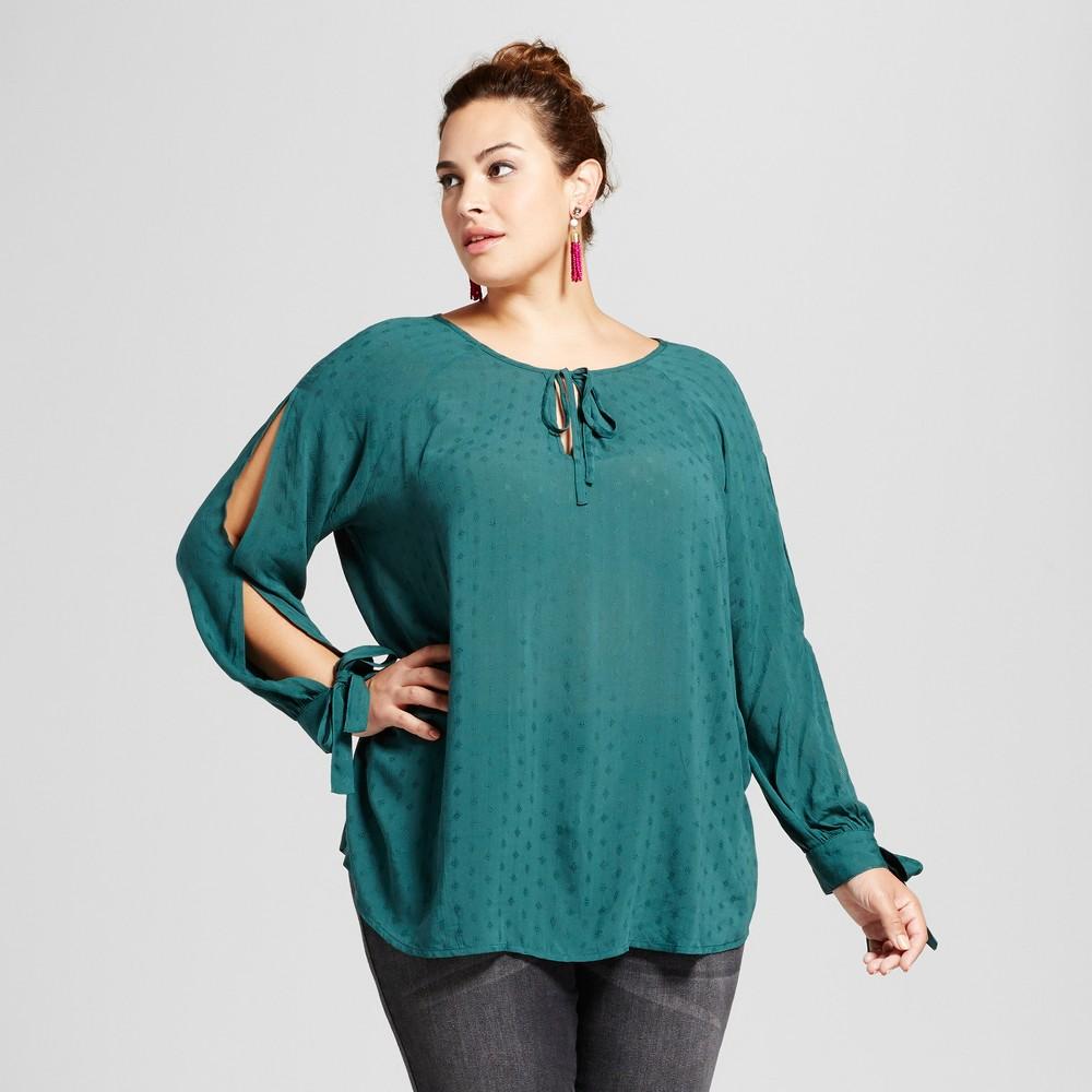 Womens Plus Size Slit Sleeve Blouse - Ava & Viv Woodland Green 1X