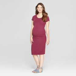 Maternity Short Sleeve Shirred T-Shirt Dress - Isabel Maternity™ by Ingrid & Isabel®