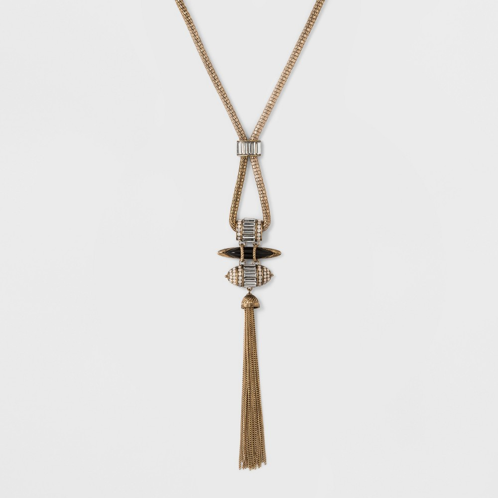 Women's Fashion Long Tassel Necklace - Black/Gold (30), Black Gold