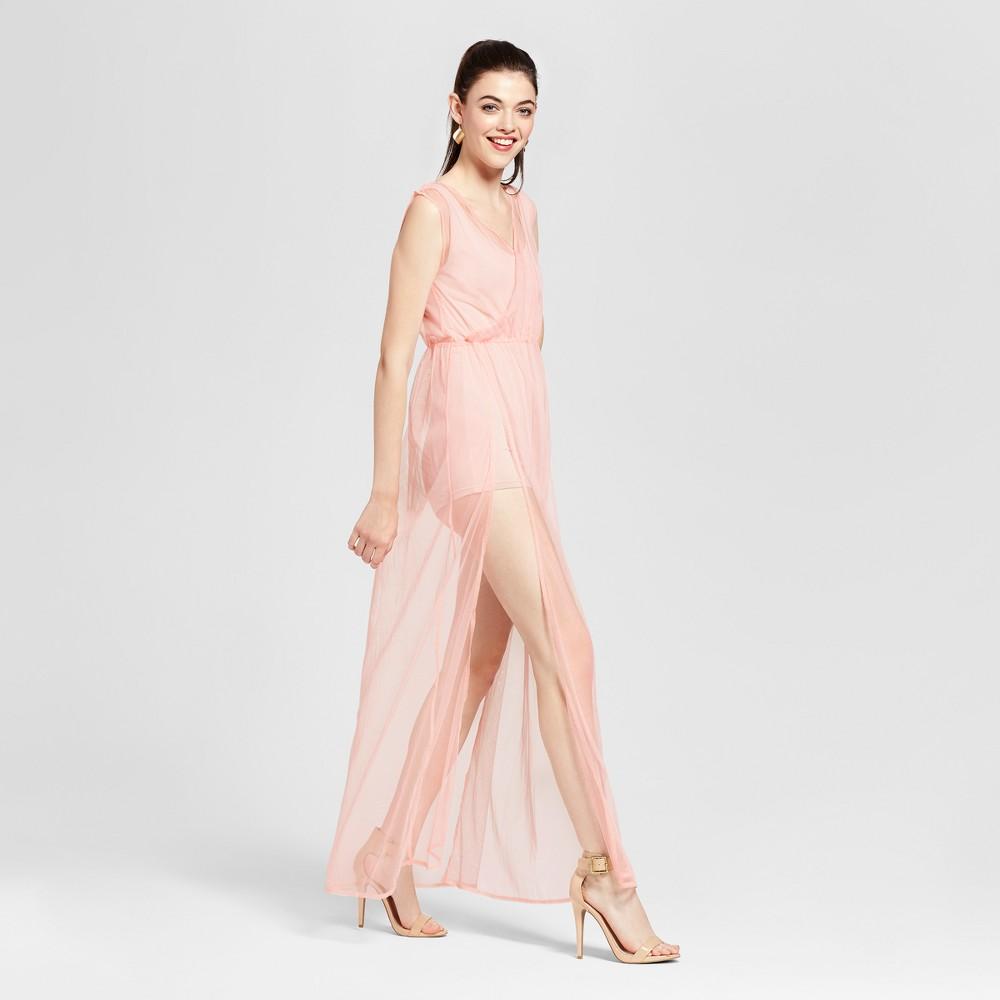 Womens Illusion Mesh Maxi Dress - Love @ First Sight (Juniors) Pink L