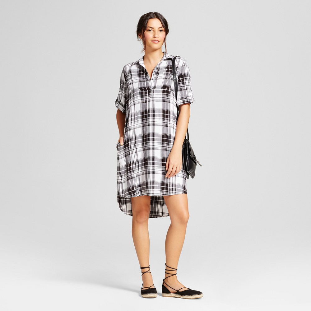 Womens Plaid Shirt Dress - Spenser Jeremy - Black/White 10, White Black