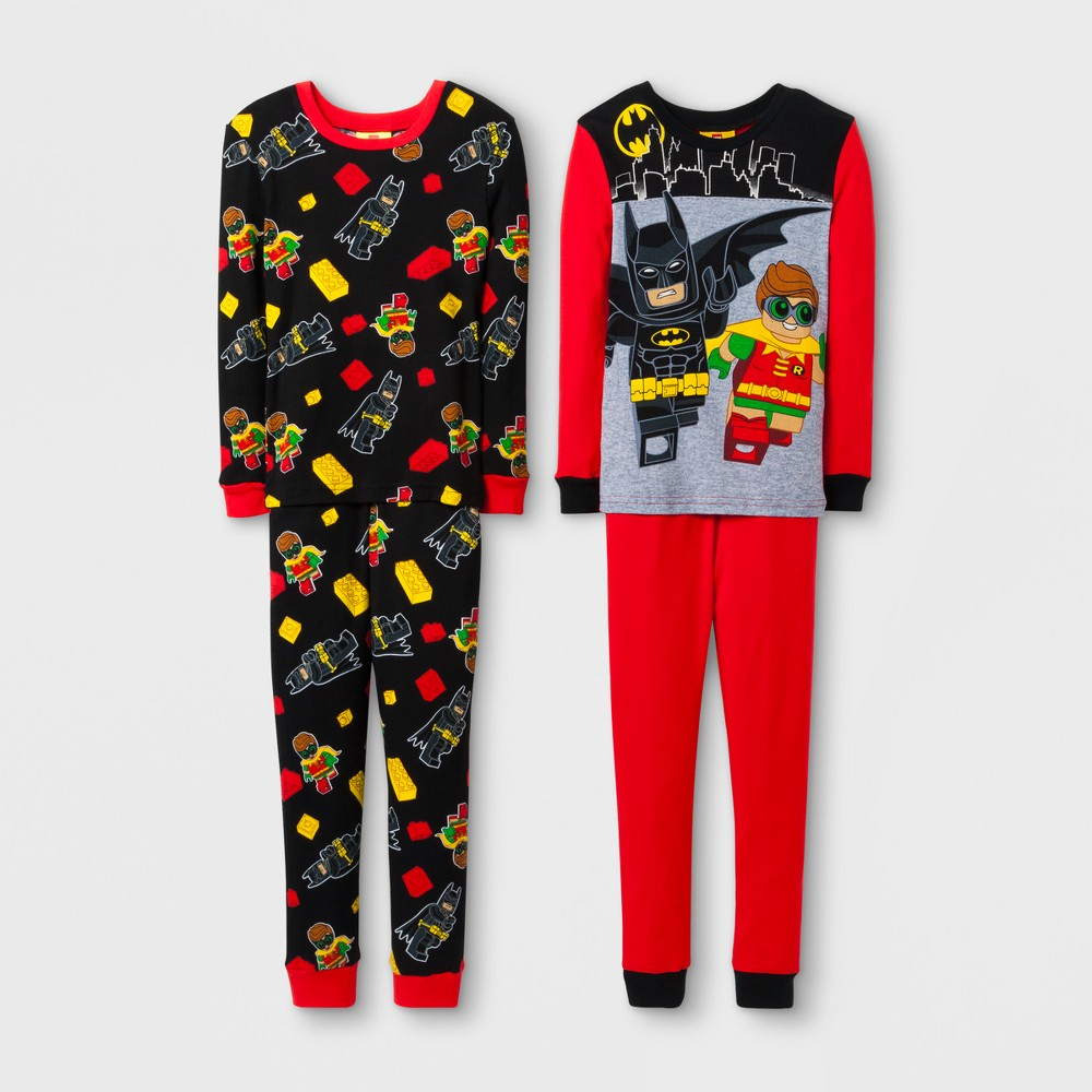The Lego Batman Movie Boys 4pc Cotton Pajama Set - Black/Red 6
