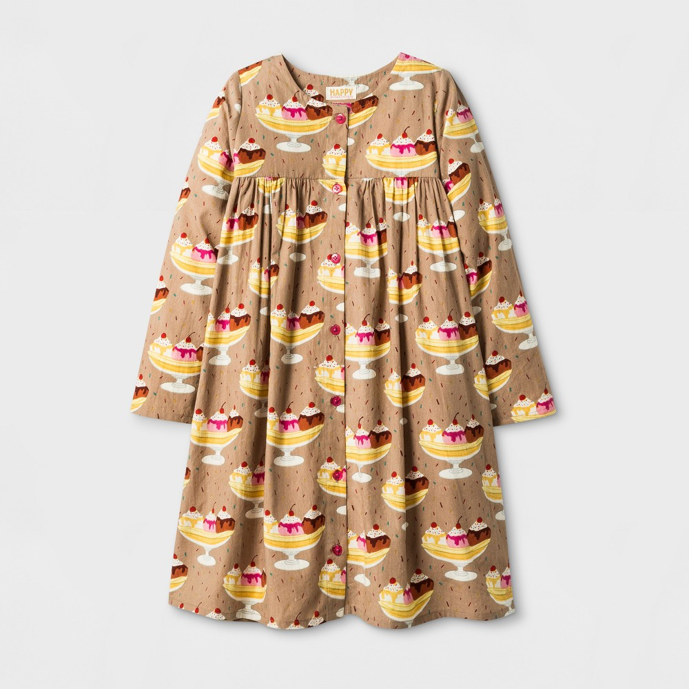 Happy by Pink Chicken Toddler Girls Banana Split Woven A Line Dress - Beige 3T