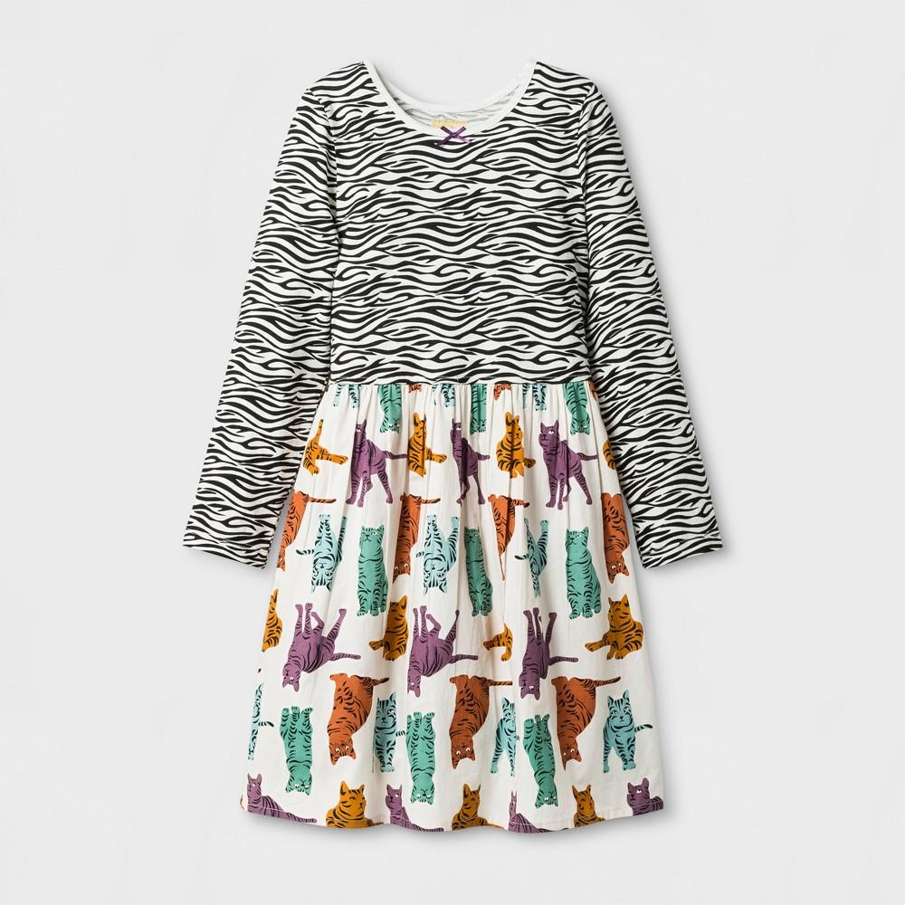 Happy by Pink Chicken Girls Zebra Kitty Knit/Woven Dress - 10, Multicolored
