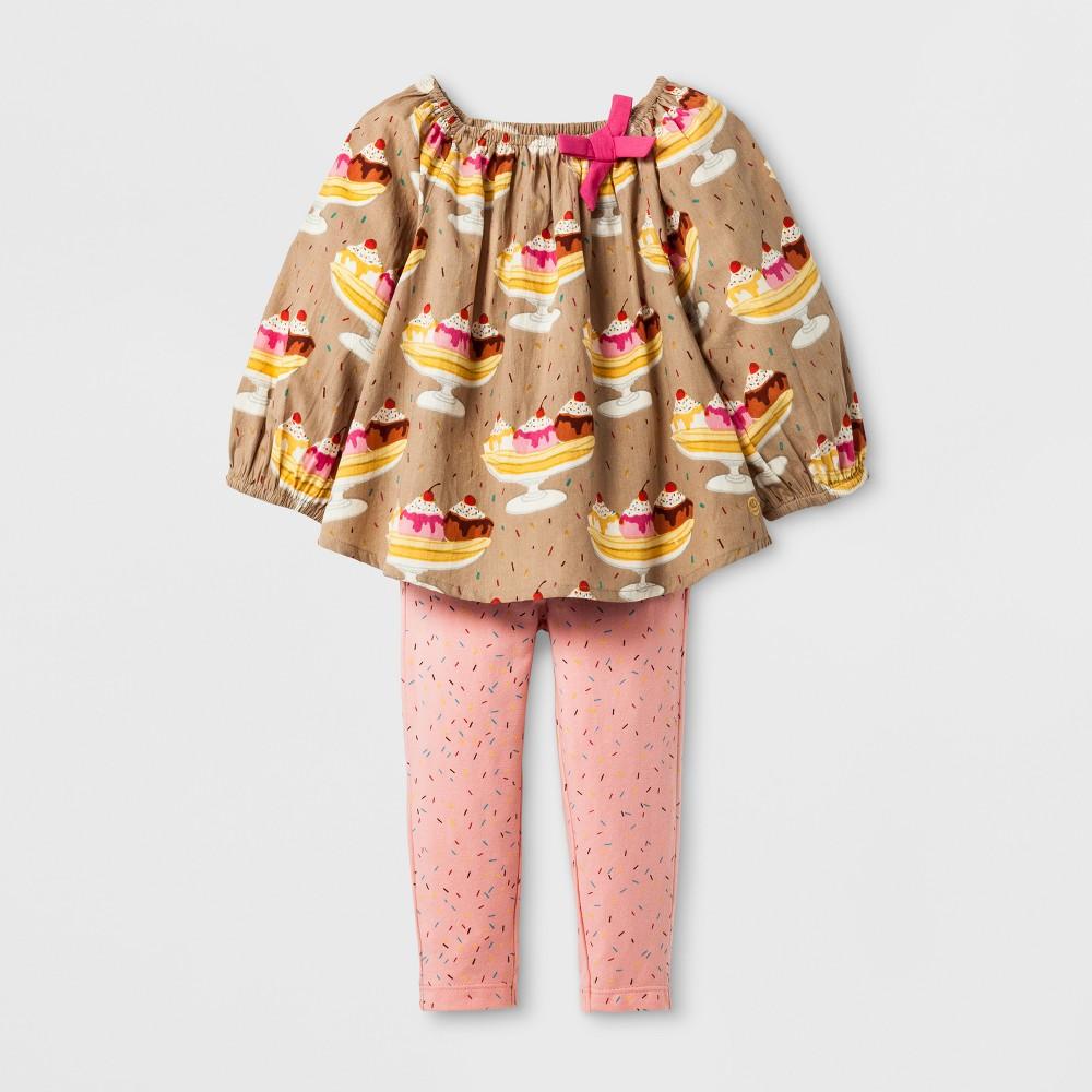 Happy by Pink Chicken Toddler Girls Banana Split 2pc Dress Set - Beige 3-6M, Size: 3-6 M