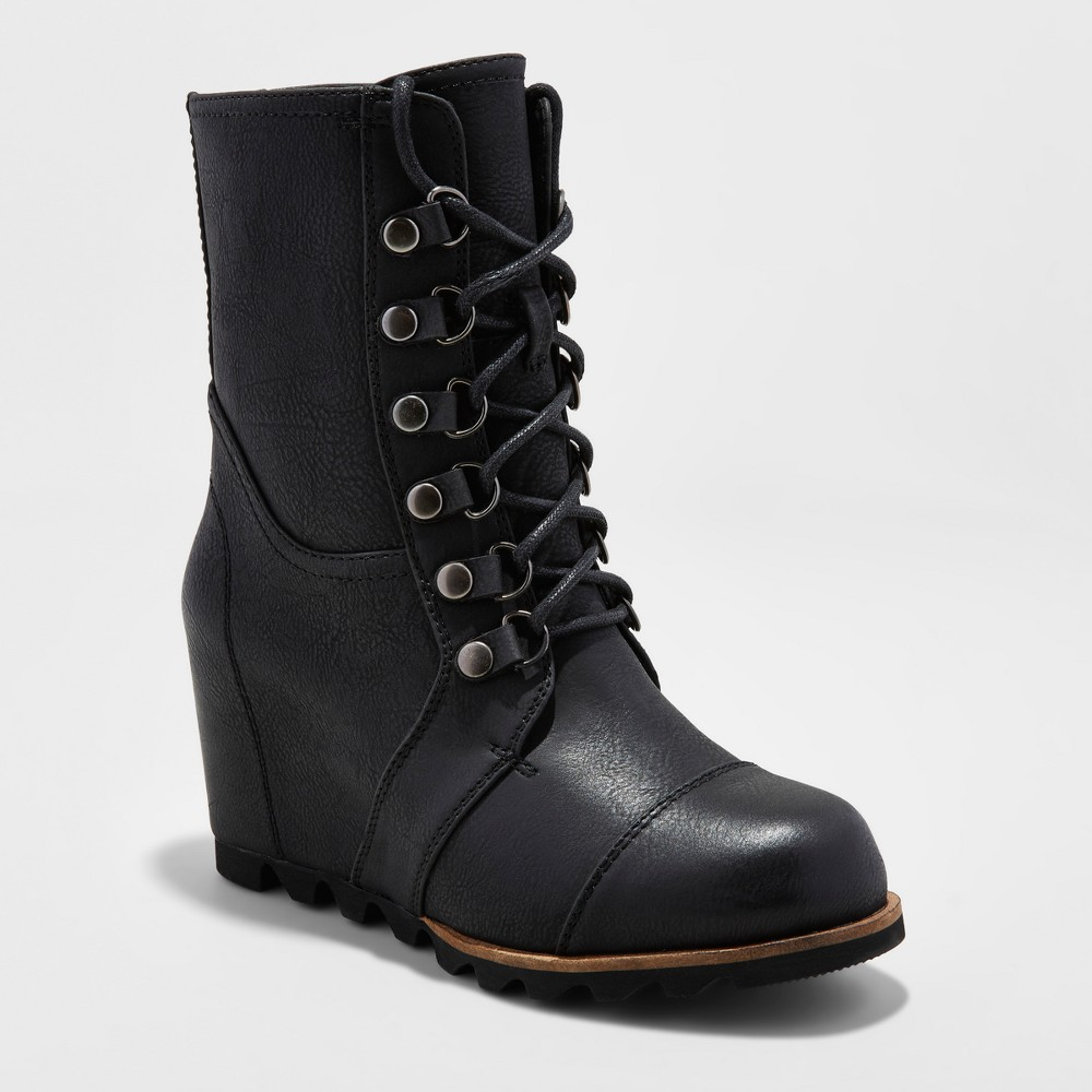 Womens Marisol Lace Up Wedge Hiker Boots - Merona, Size: 8.5, Black