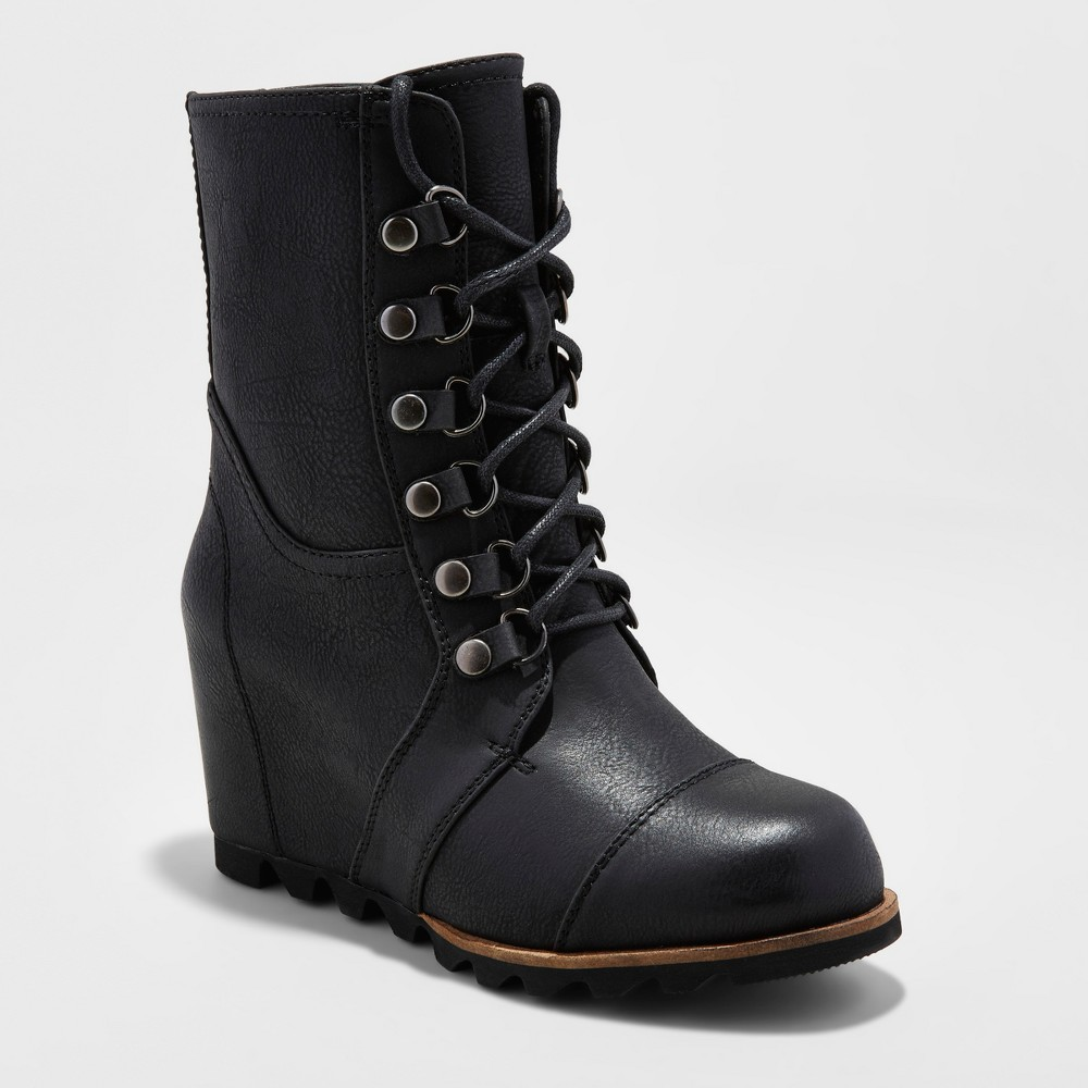 Womens Marisol Lace Up Wedge Hiker Boots - Merona, Size: 6, Black