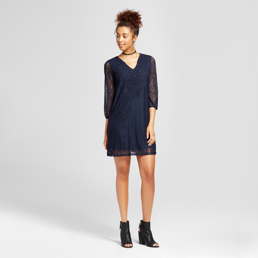 Womens Lace Shift Dress - Xhilaration (Juniors) Navy (Blue) XS