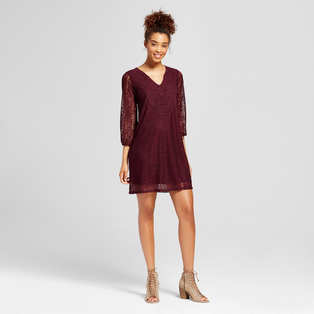 Womens Lace Shift Dress - Xhilaration (Juniors) Burgundy (Red) M