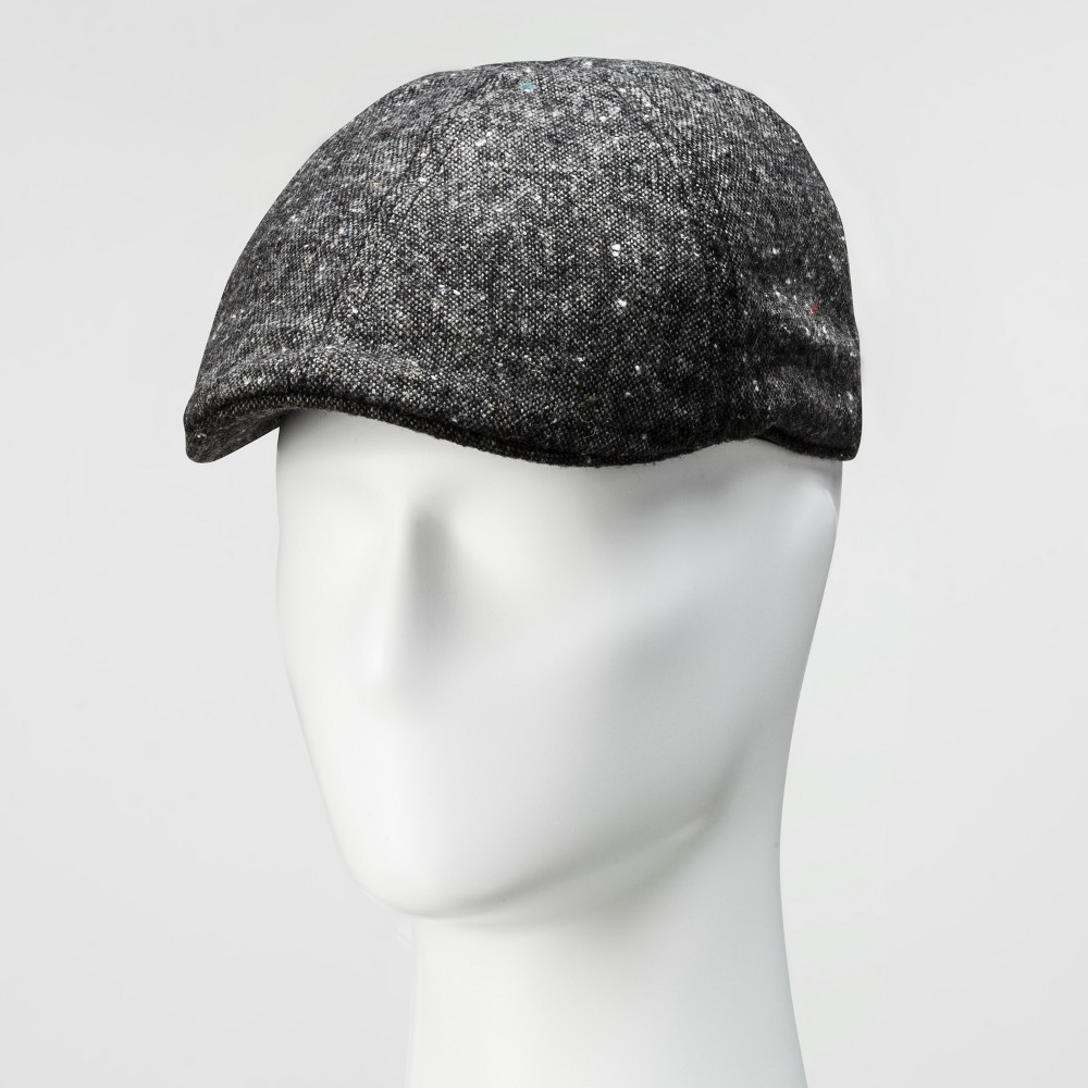 Mens Tweed 6 Panel Ivy Driving Cap - Goodfellow & Co Black M/L, Black Gray