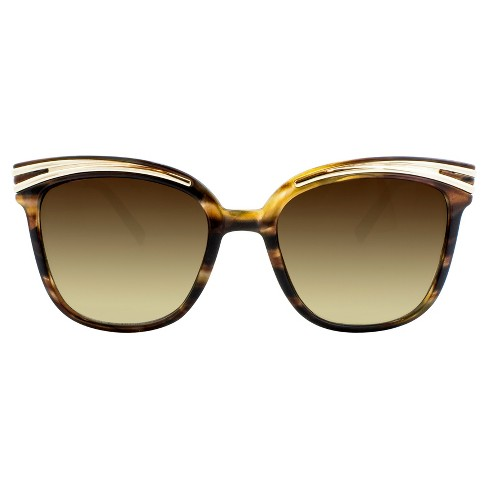 Women's Cat Eye Sunglasses with Smoke Lenses and Gold Trim - Gold/Tort - image 1 of 3