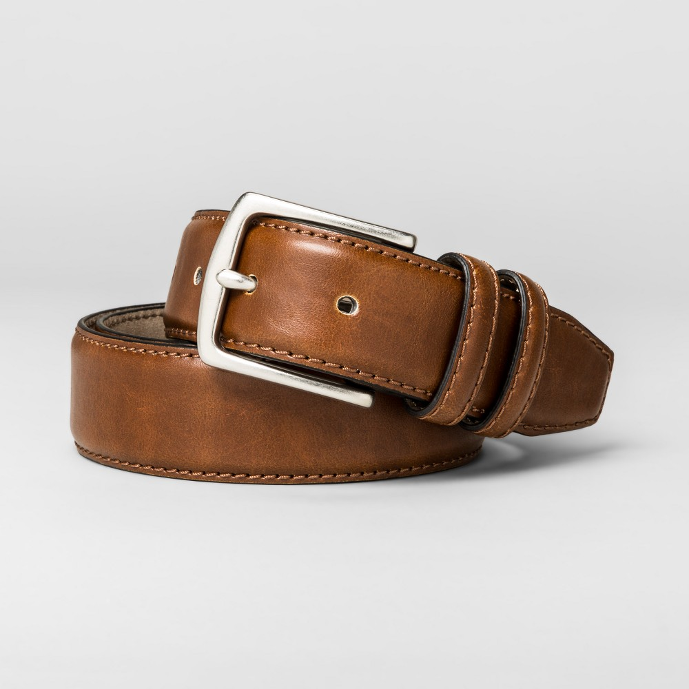 Mens 35mm Double Loop Border Stitched Belt - Goodfellow & Co - Brown L