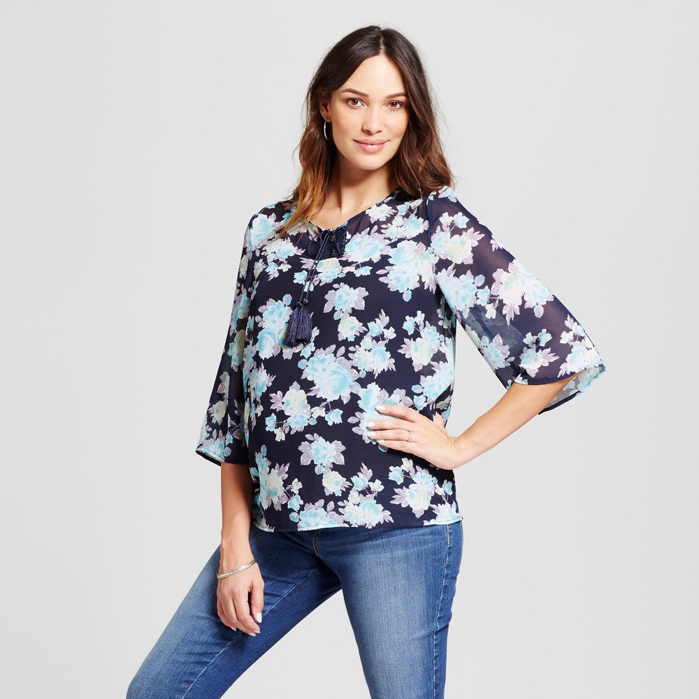 Maternity Floral Printed Blouse Blue XL - Macherie Maternity, Womens