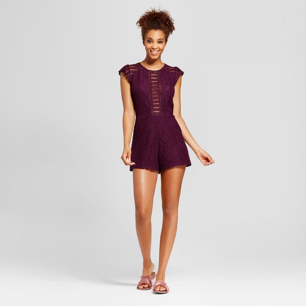Womens Lace Short Sleeve Romper - Xhilaration (Juniors) Purple L