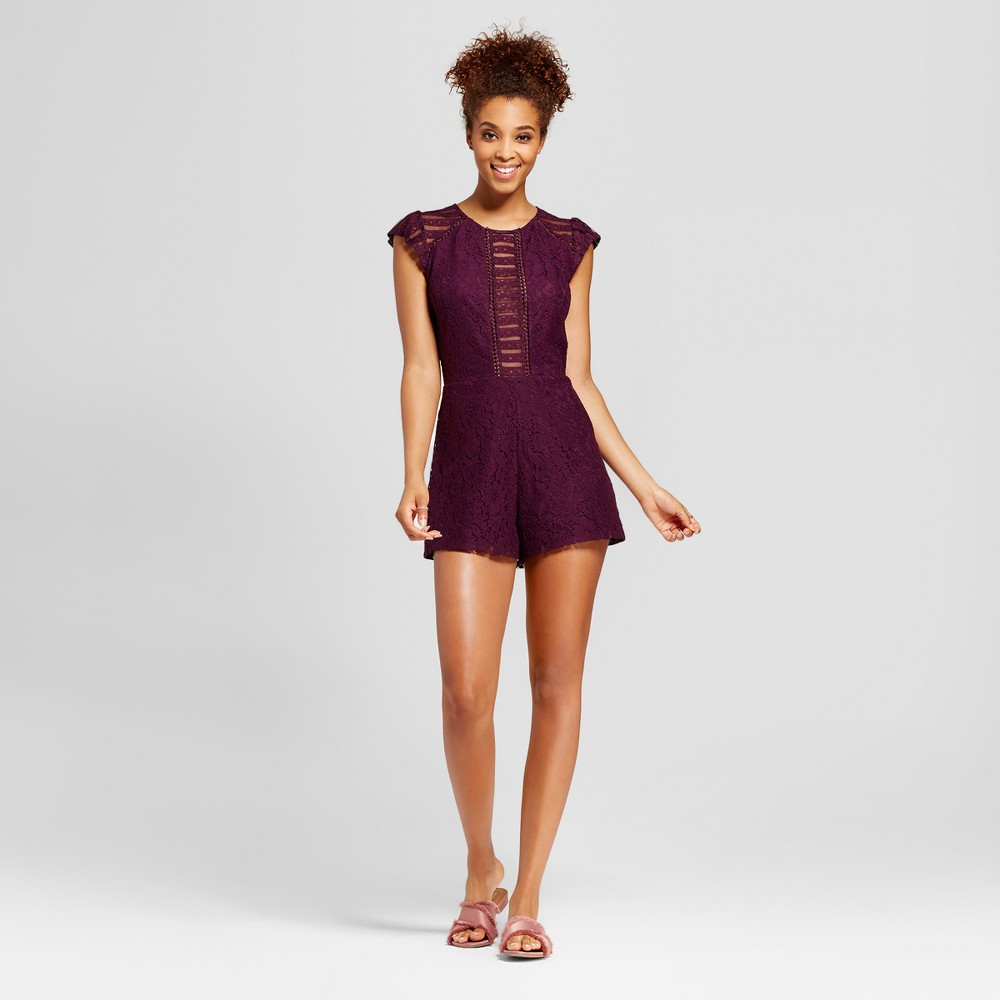 Womens Lace Short Sleeve Romper - Xhilaration (Juniors) Purple XL