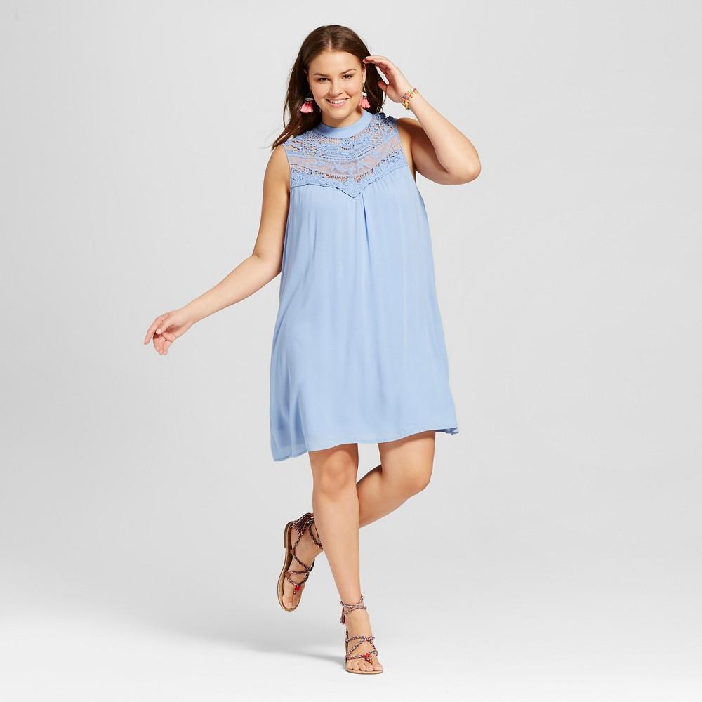 Womens Plus Size Denim Sleeveless Victorian Dress Blue 1X - Lily Star (Juniors)
