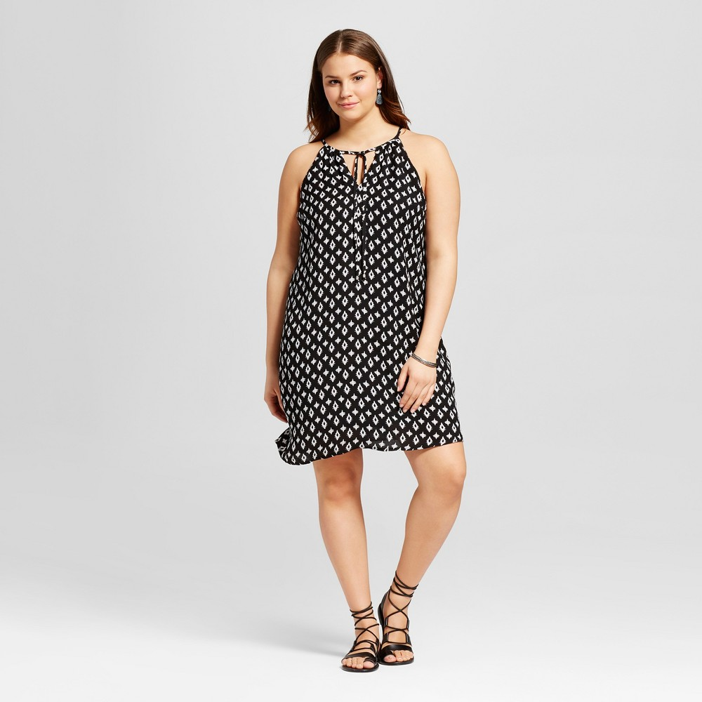 Womens Plus Size Polka Dot A-Line Printed Dress Black 1X - Lily Star (Juniors)