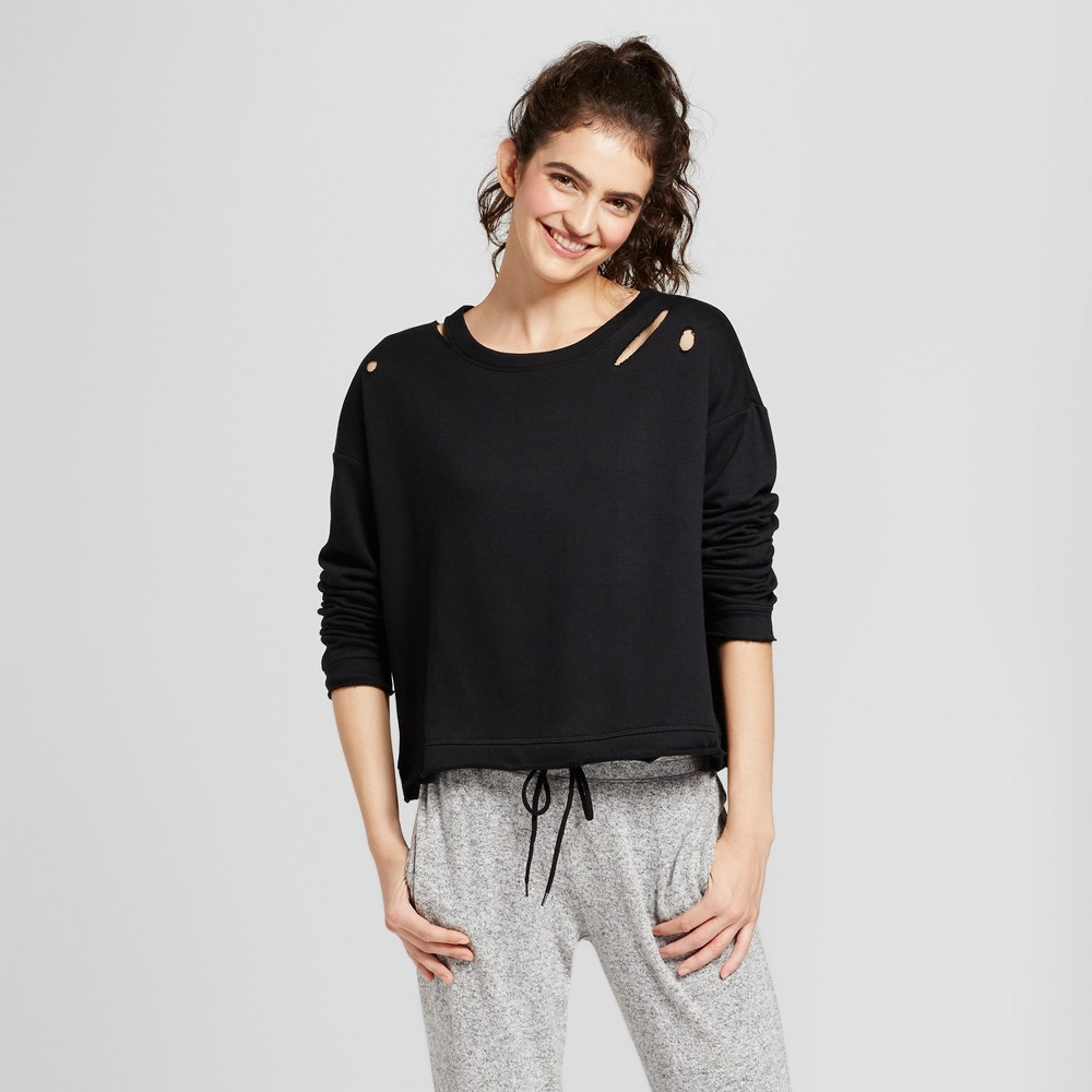Womens Destructed Pullover Sweatshirt - Mossimo Supply Co. Black XS