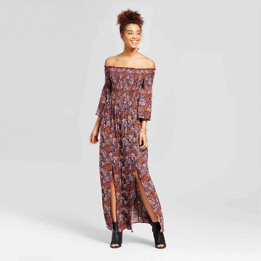 Womens Smocked Off the Shoulder Maxi Dress - Xhilaration (Juniors) Burgundy (Red) XL
