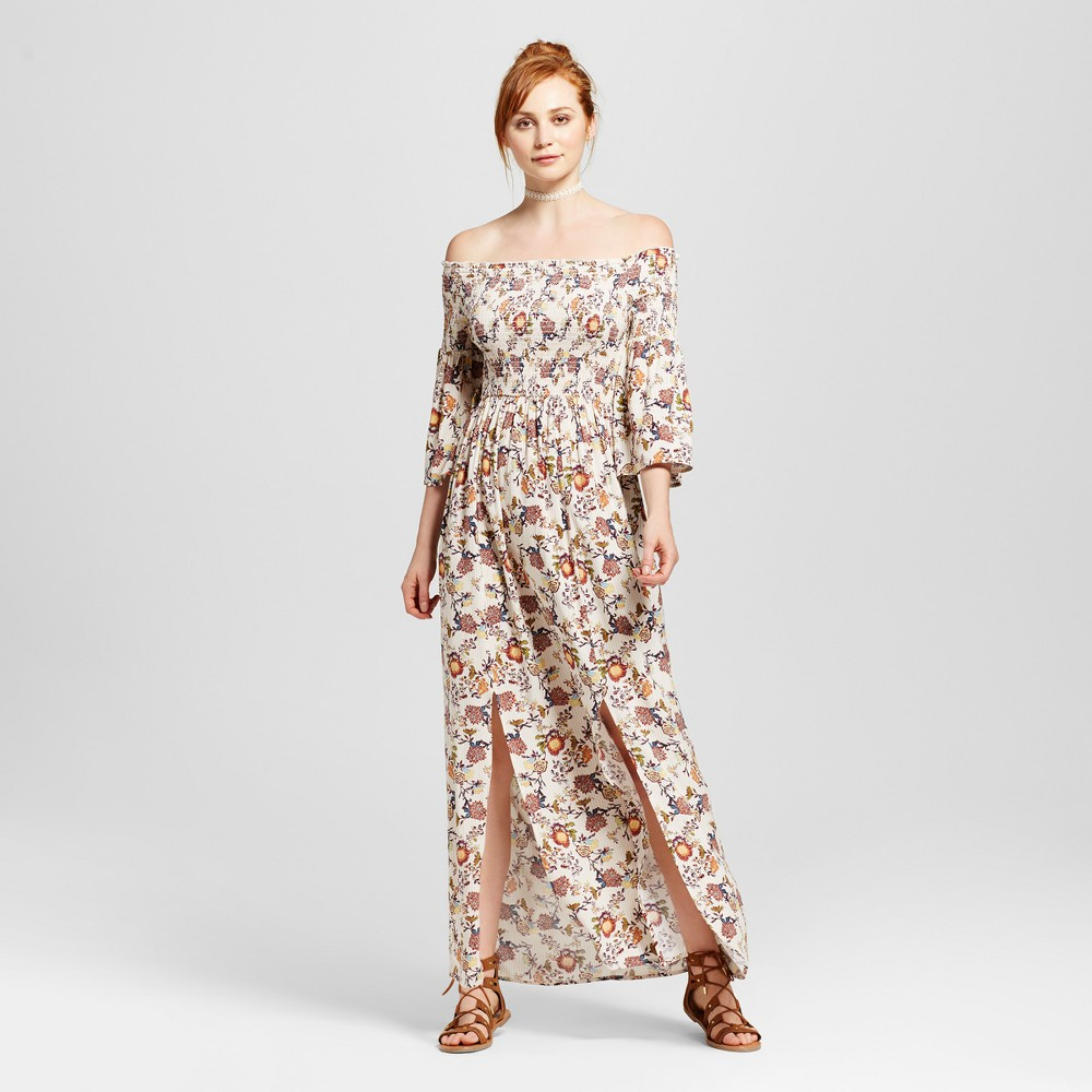 Womens Smocked Off the Shoulder Maxi Dress - Xhilaration (Juniors) White XL