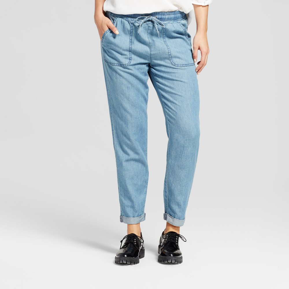 Womens Chambray Patch Pockets Jogger - K by Kersh Denim Blue XL