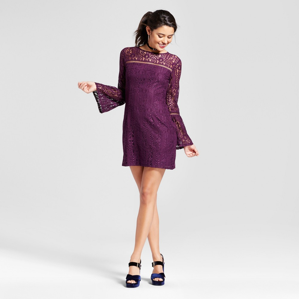 Womens Bell Sleeve Lace Bodycon - Xhilaration (Juniors) Purple L