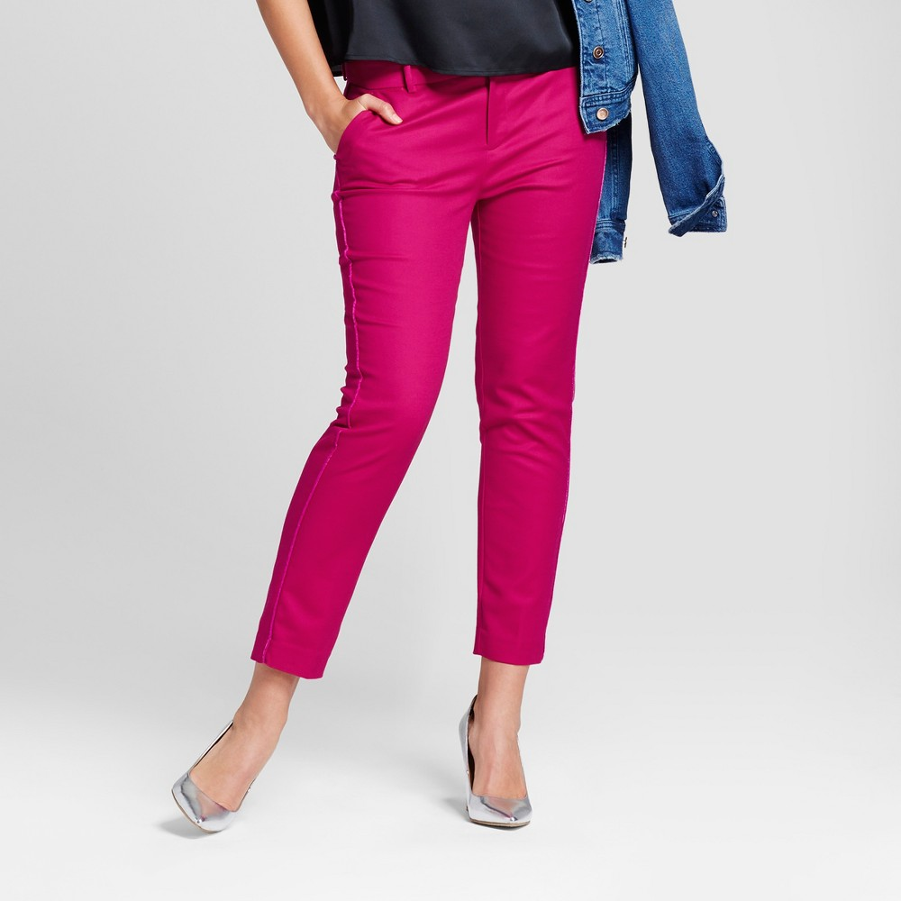 Womens Straight Leg Side-Piped Slim Ankle Pants - A New Day Magenta (Pink) 4