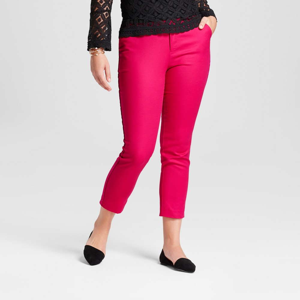 Womens Straight Leg Curvy Side-Piped Ankle Pants - A New Day Magenta (Pink) 14