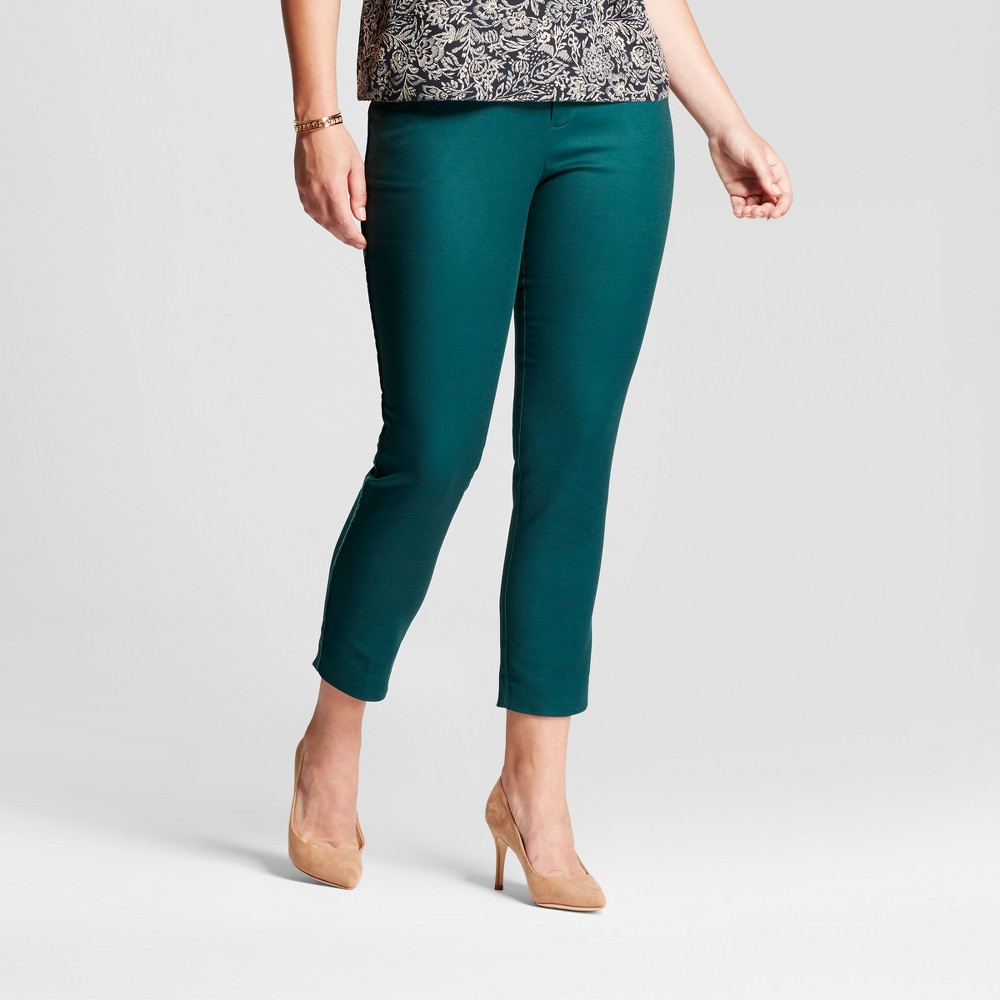 Womens Straight Leg Curvy Side-Piped Slim Ankle Pants - A New Day Dark Green 14