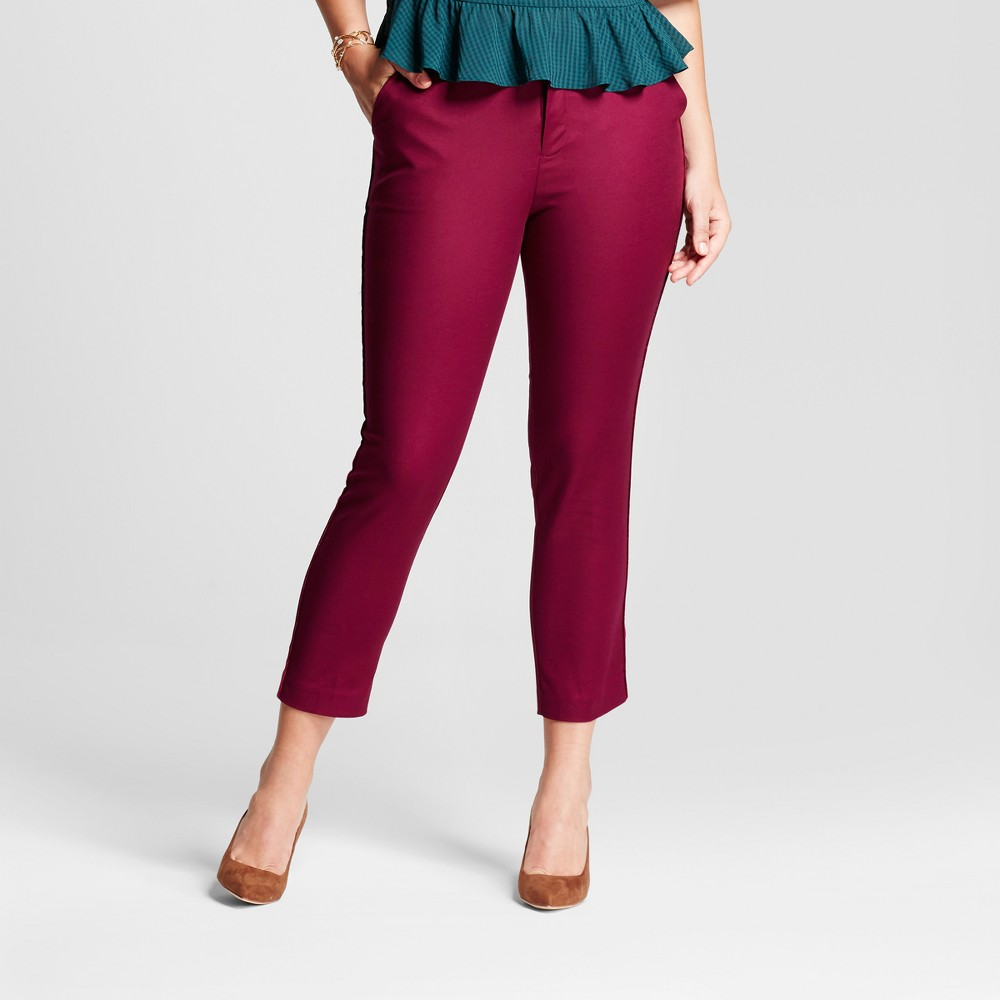 Womens Straight Leg Curvy Side-Piped Slim Ankle Pants - A New Day Cherry (Red) 8