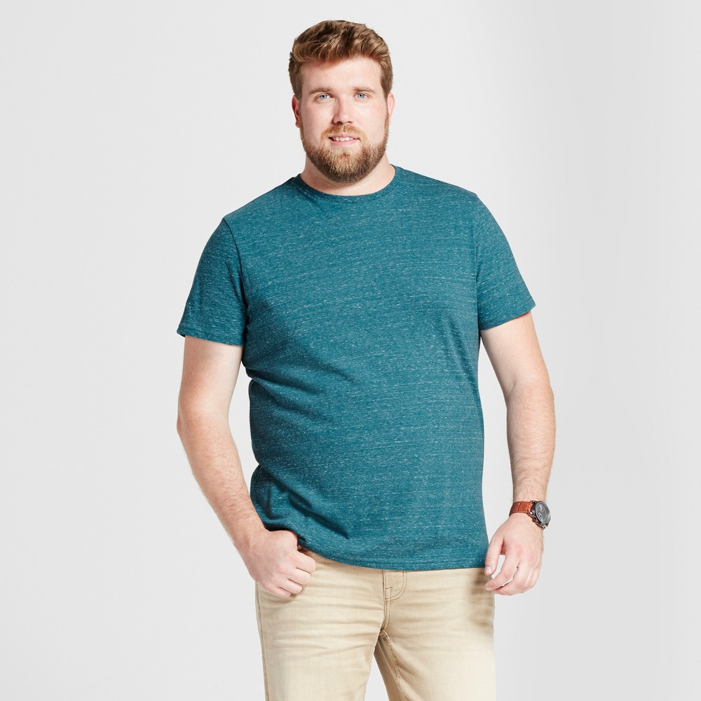 Mens Big & Tall Standard Fit Short Sleeve Crew T-Shirt - Goodfellow & Co Teal (Blue) LT