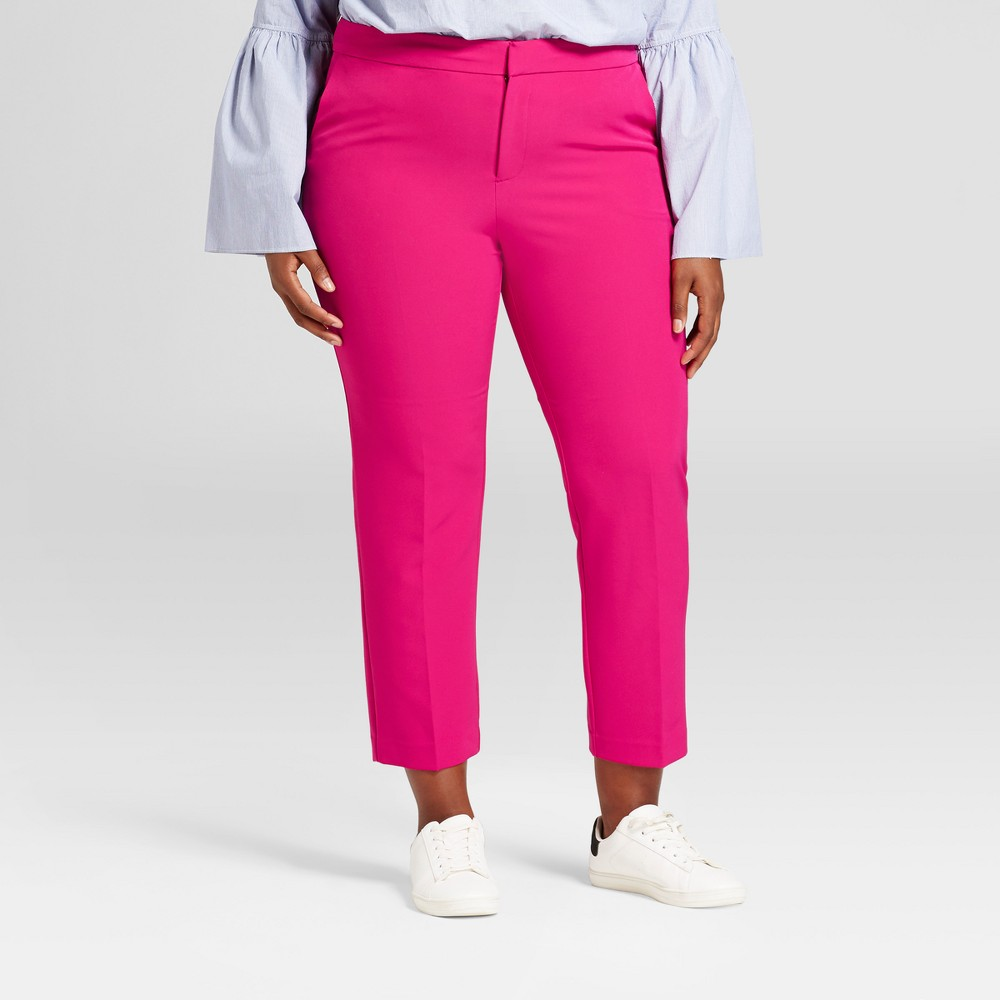 Womens Plus Size Slim Ankle Crepe Pants - A New Day Rich Magenta 18W, Purple