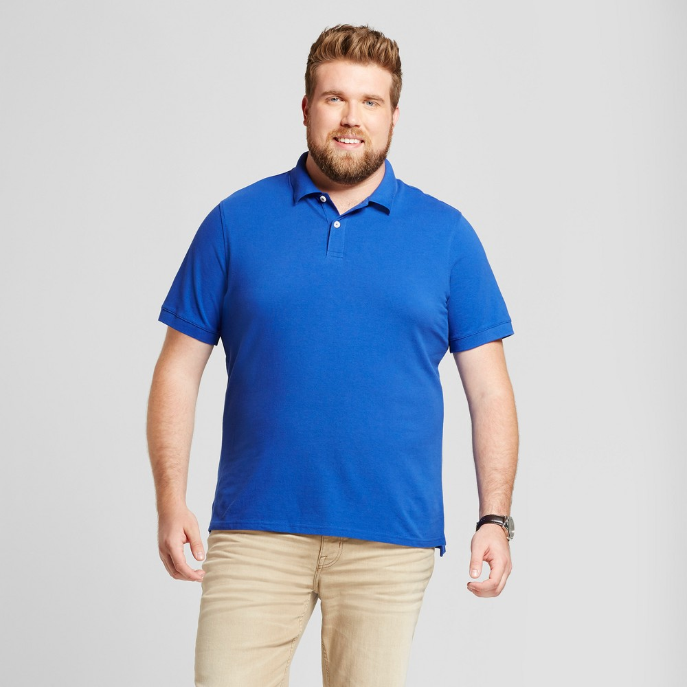 Mens Big & Tall Standard Fit Pique Polo - Goodfellow & Co Blue MT