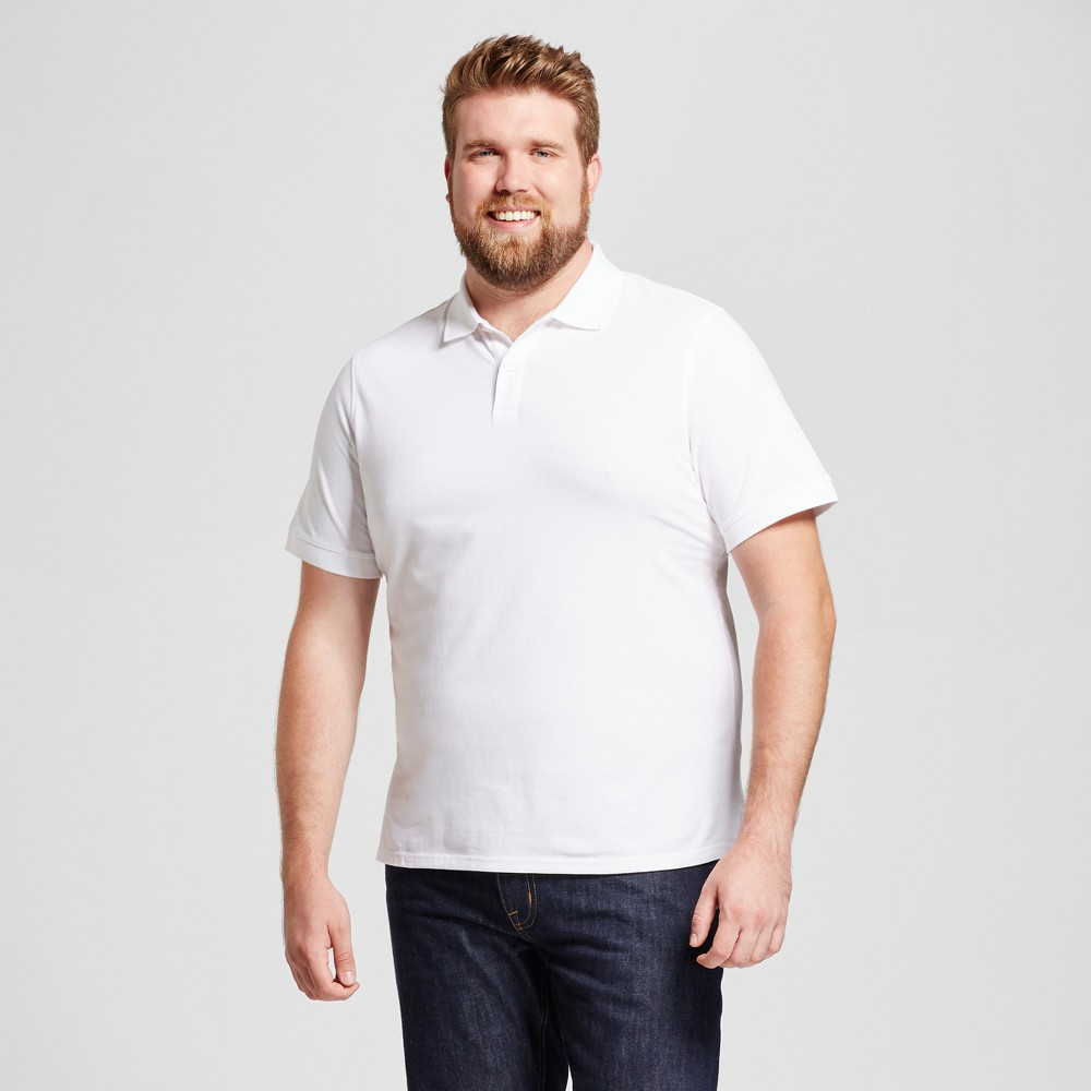 Mens Big & Tall Standard Fit Pique Polo - Goodfellow & Co White 2XB