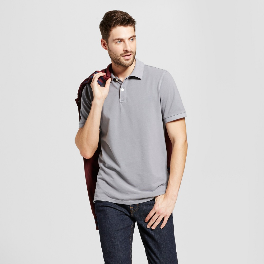 Mens Standard Fit Loring Polo Short Sleeve Collared Shirt - Goodfellow & Co Gray Xxl