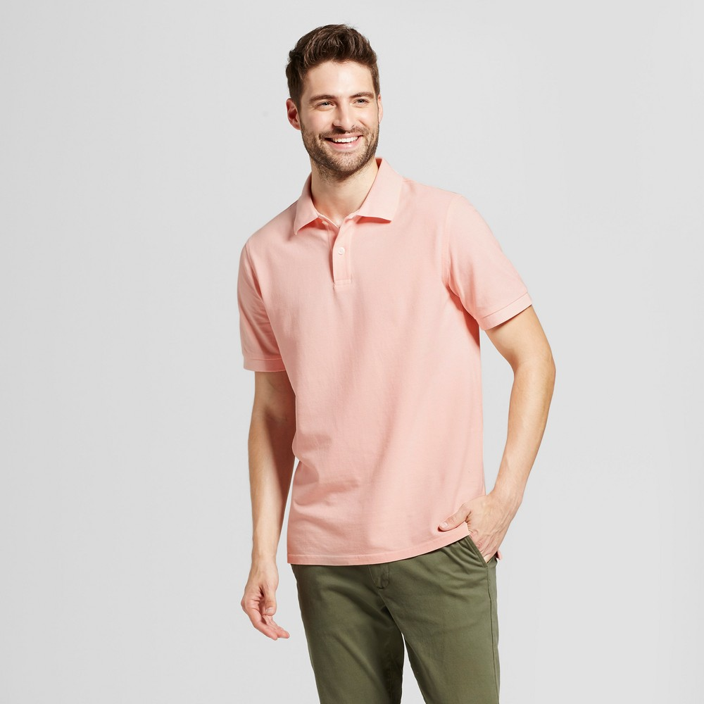 Mens Standard Fit Loring Polo Short Sleeve Collared Shirt - Goodfellow & Co Pink S