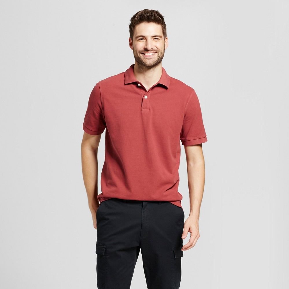 Mens Standard Fit Loring Polo Short Sleeve Collared Shirt - Goodfellow & Co Burgundy (Red) XL