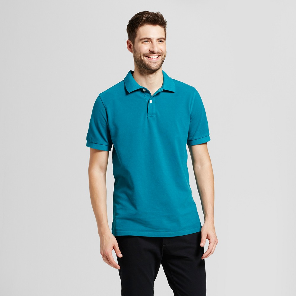 Mens Standard Fit Loring Polo Short Sleeve Collared Shirt - Goodfellow & Co Teal (Blue) L