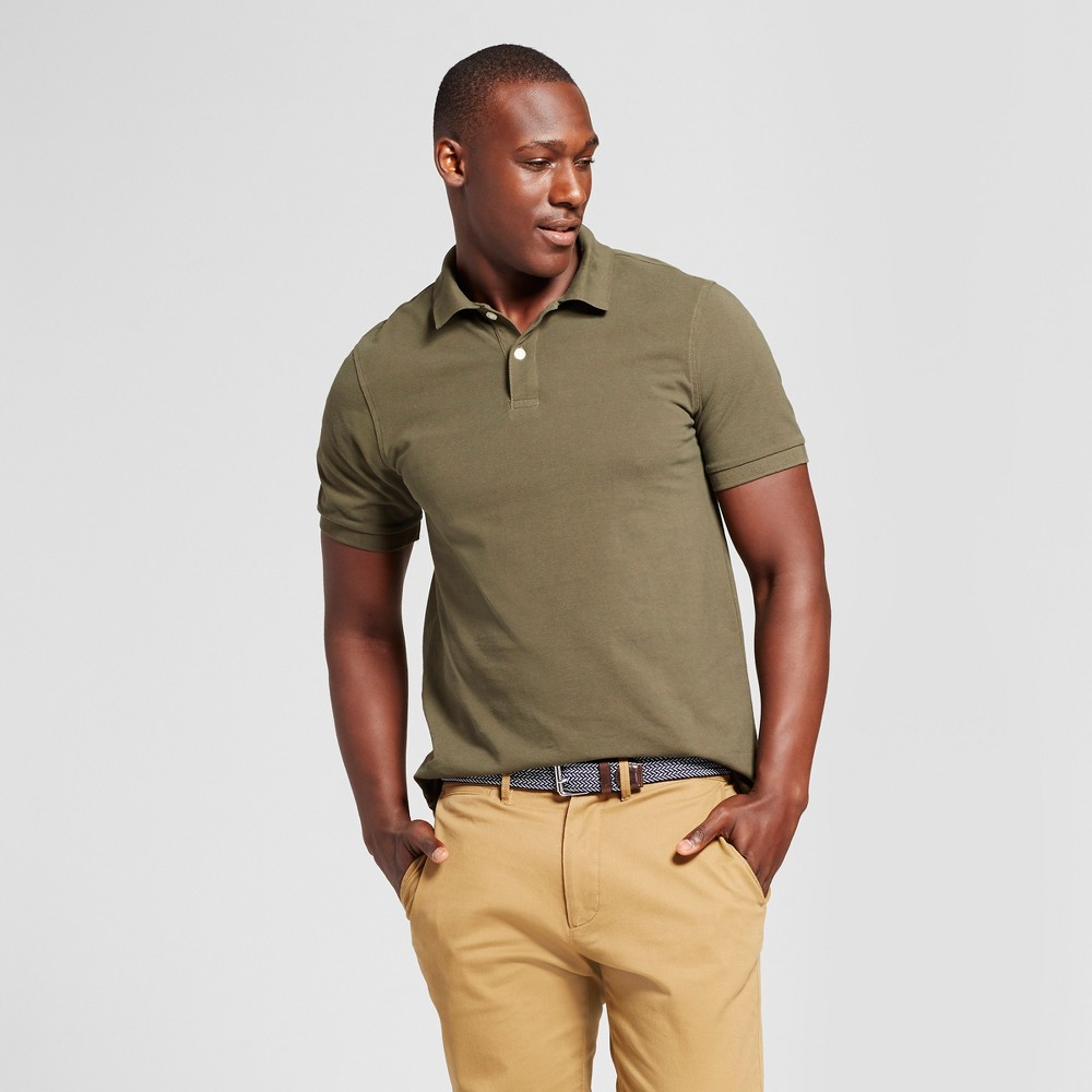 Mens Standard Fit Loring Polo Short Sleeve Collared Shirt - Goodfellow & Co Green M